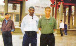 Grandmaster Ip Ching and Garry in Faat	Saan, outside the ancestral hall.